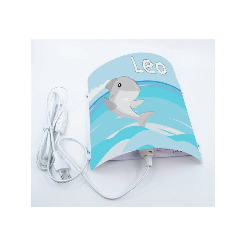 22 x 22,5 x 85 cm Nachtlicht//Schlummerlicht f/ür Steckdose Kinderzimmer Wandlampe personalisiert mit Namen E14 Hai CreaDesign WA-1126